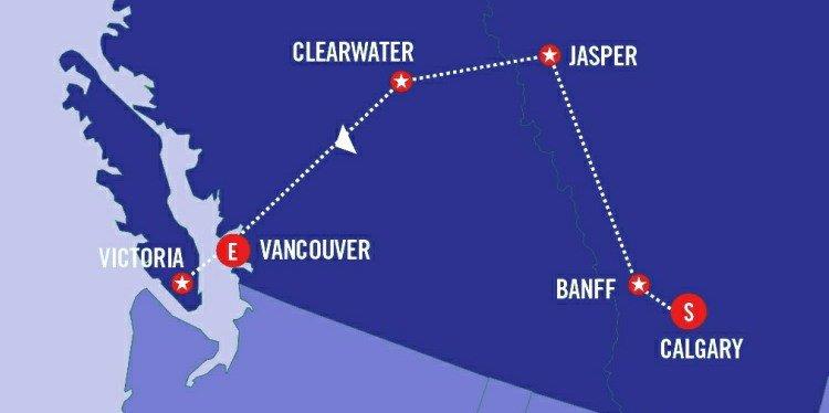 Canada's Cities & Glaciers Map