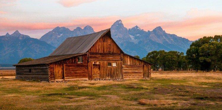 Barn & Mountain Vista, Wyoming