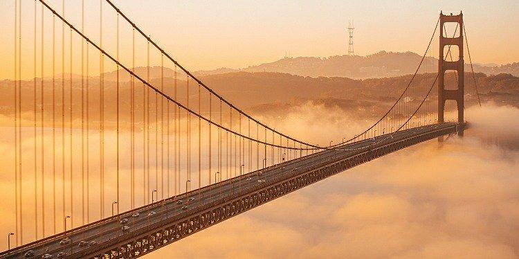 Golden Gate Bridge with Fog in the Bay, San Francisco, California