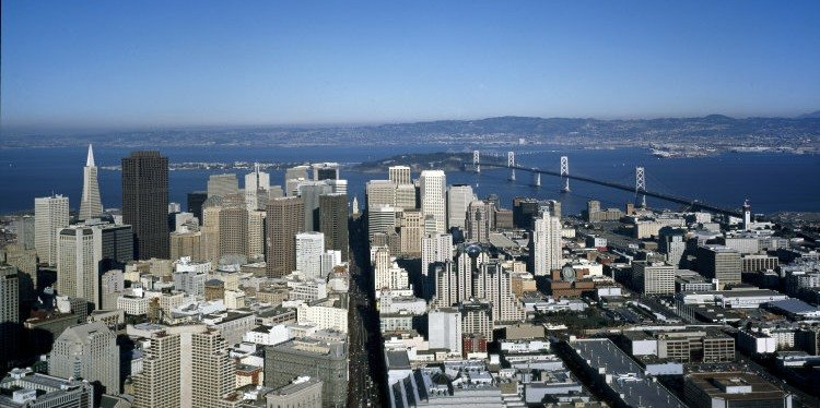 San Francisco Market Street Aerial, California