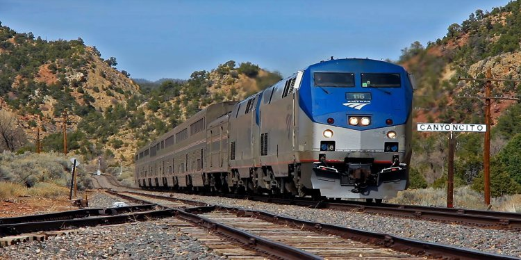 Amtrak's Southwest Chief in Canyoncito, New Mexico